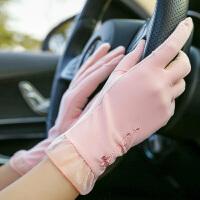 手套女遮阳短款手套薄款开车骑车防滑触摸屏透气袖套