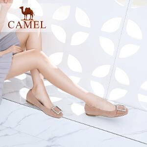 Camel/骆驼女鞋 2018春季新品 时尚吸睛耀眼扣饰平底优雅单鞋女