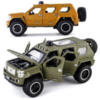 金属1:24仿真汽车模型带声光回力6开门乔治巴顿大号玩具车