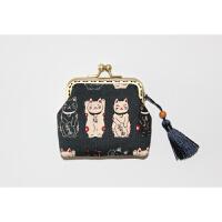 日本猫零钱包女 卡包纯棉创意学生口金包迷你布艺新年礼物diy