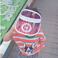亲子帽18夏新款空顶帽子字母儿童帽遮阳帽透明防晒帽