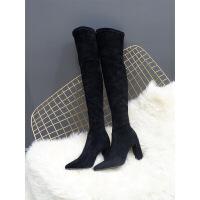 №【2019新款】冬天穿的过膝靴女高跟长筒尖头弹力靴粗跟长靴