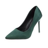 春季尖头网红高跟鞋细跟浅口黑色女鞋2019新款工作鞋性感百搭单鞋 绿色10厘米 34