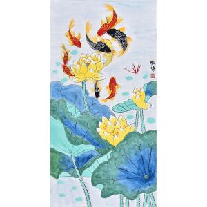辽宁省美术家协会会员 张静《九鱼图》HN12157