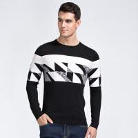才子男装(TRIES)针织衫 男士2017新款创意几何拼色时尚简约百搭休闲针织衫