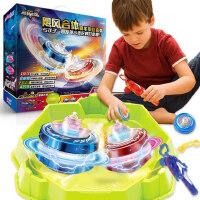 奥迪双钻陀螺新款 战斗王飓风战魂5旋转合体发光儿童拉线套装玩具