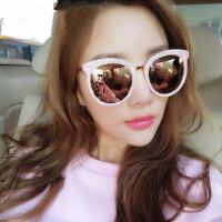 贝壳粉色女士太阳镜瘦脸潮反光圆脸眼墨镜