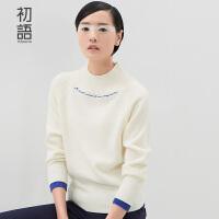 初语冬季新品简约甜美字母绣花纯色高领套头长袖修身针织衫女 8530323017