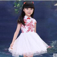女童装中式唐装公主连衣裙 青花瓷民族风古筝演出服装儿童裙子装支持礼品卡支付