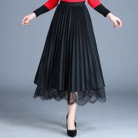 半身裙秋冬加厚百褶裙网纱A字裙两穿半身裙中长款高腰显瘦长裙子 均码
