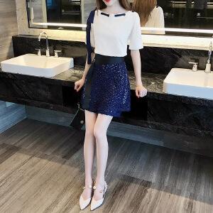 2017夏装新款小清新蕾丝两件套连衣裙套装裙时尚一字领A字裙