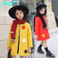 奥戈曼 女童呢子外套新款2017儿童大衣韩版中长款衣服毛呢冬季时尚上衣厚亲子装