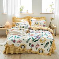 【每满100减50】网红款全棉四件套韩式公主风纯棉床单被套宿舍单人床上用品双人1.5m/1.8米床
