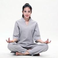 瑜伽服套装棉麻女大码瑜珈服禅服愈加健身禅修居士服女