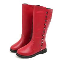 女童高筒靴子冬季新款防滑学生公主棉鞋侧拉链儿童过漆马丁靴