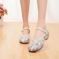 汉服鞋女新款白色老北京布鞋古典民族风绣花鞋广场舞蹈鞋演出鞋子