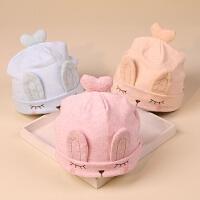 婴儿帽子秋0-3-6个月纯棉宝宝帽子薄款男女婴幼儿新生儿胎帽春秋