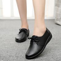 19新款黑色单皮鞋平底鞋平跟女士工作鞋女鞋妈妈鞋肯德基工鞋