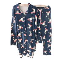 好眼光的收~上衣可以当睡裙!~可爱卡通兔子秋女学生棉长袖睡衣套 宽松版(80-140斤)