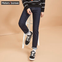 美特斯邦威牛仔长裤男士2017秋季新款直筒黑色韩版青年潮流裤子