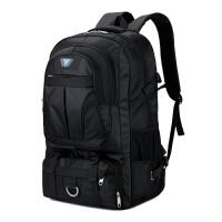 双肩包升超大容量户外旅行背包男女登山包旅游行李包多功能大包 黑色 没有隔层