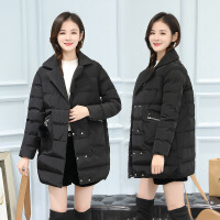 大码棉袄女中长款冬装韩版面包羽绒加厚棉衣外套