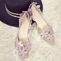 韩版甜美显瘦尖头单鞋女高跟鞋3cm 中空花朵低跟小细跟伴娘鞋 33 小脚福音