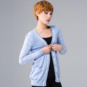 灏领衣尚夏季格子长袖针织衫女开衫中长款外套薄款棉质中长空调衫
