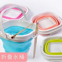 快力文多功能折叠硅胶美术涮笔洗笔筒桶水粉颜料水彩画画专用户外大号水桶绘画可折叠伸缩洗颜料的桶塑料橡胶