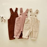 婴儿灯芯绒背带裤春装新生儿秋冬装衣服1一2-3岁小童裤子