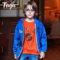 【满200减100】TAGA童装2017春季新款男童外套梭织风衣儿童运动上衣服大童拉链衫