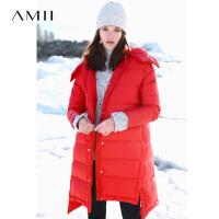【券后价:775元】Amii极简欧货时尚潮90白鸭绒羽绒服女简约冬新连帽工装中长款外套