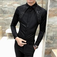 花衬衫男长袖潮男 休闲气质 个性时尚衬衣夜店衣服发型师碎花寸衫