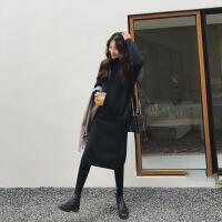 秋冬微胖mm显瘦慵懒中长款针织衫毛衣两件套装洋气遮肚打底连衣裙 黑色 L