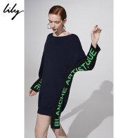 【不打烊价:269.7元】 Lily春新款女装撞色字母提花宽松长袖针织连衣裙118400B7708