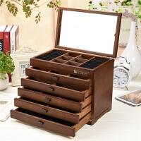 首饰盒木质饰品盒多功能带镜子首饰收纳盒结婚生日礼物