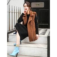 仿皮草马甲秋装女2018新款韩版宽松中长款拉链毛绒时尚加厚外套冬