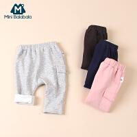 【尾品汇】迷你巴拉巴拉男童女童婴儿幼童宝宝外出裤儿童冬装加绒保暖裤子