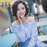 佟丽娅明星同款2018夏新款一字肩条纹连衣裙女韩版显瘦漏锁骨长裙 蓝色 XS