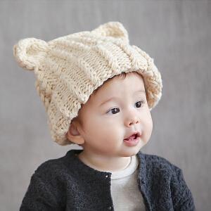 【支持礼品卡】Yinbeler手工针织毛线帽萌系猫耳朵秋冬保暖翻边帽檐毛线帽