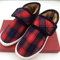 冬季老北京布棉鞋男女老少加绒加厚保暖鞋子软底情侣手工棉鞋 红色 格子