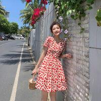 不一样的闺蜜装裙子短袖无袖2019吊带蛋糕裙连衣裙女红色波点裙姐妹装