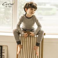 纯一良品男童秋款套装2018新款韩版时尚家居服儿童纯棉条纹潮衣