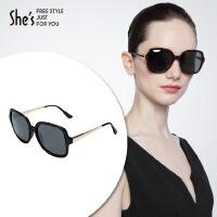 【商场同款】She's茜子 潮流炫彩偏光太阳镜女士 方形大框架墨镜 室外遮掩眼镜礼物