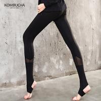 【到手价89】Kombucha瑜伽裤2018新款女士网纱拼接透气紧身弹力踩脚长裤瑜伽健身打底长裤ZDK7105