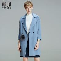 颜域品牌女装2017冬装新款欧美潮流翻领深V七分袖宽松双面呢大衣