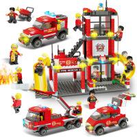 品兴积木兼容乐高积木消防警察城市系列儿童益智DIY拼装积木玩具 满月周岁生日礼物六一圣诞节新年礼品