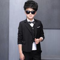 男童西装礼服套装五件套大童纯色正装2018春季童装B 黑色