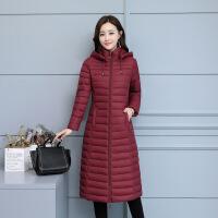 冬季外套女棉袄2018新款韩版女士棉衣修身轻薄款羽绒长款过膝 枣红色 L