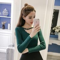 2018新款韩版v领打底套头针织衫毛衣女士长袖紧身上衣早春初秋季